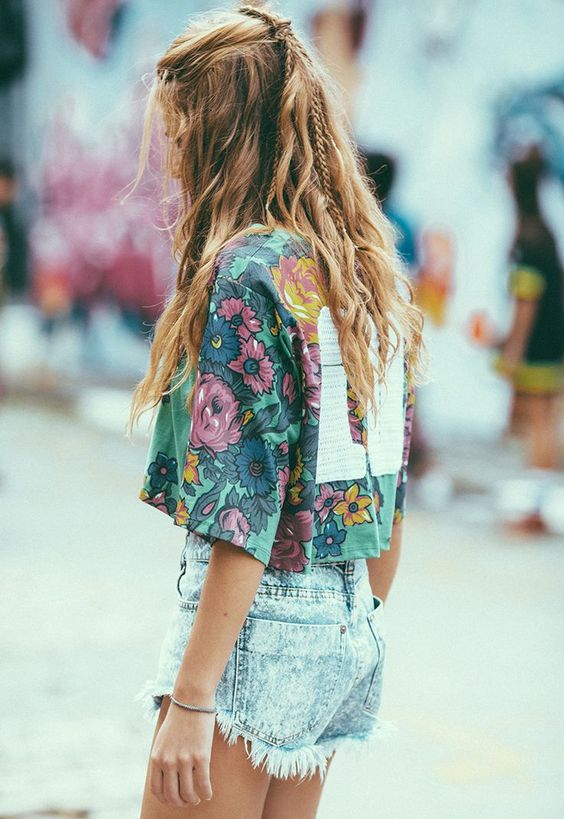 Floral Print + Denim Cut Off Shorts - Coachella Style Festival Fashion