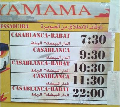 Horaires des bus pour Rabat et Casablanca depuis Essaouira