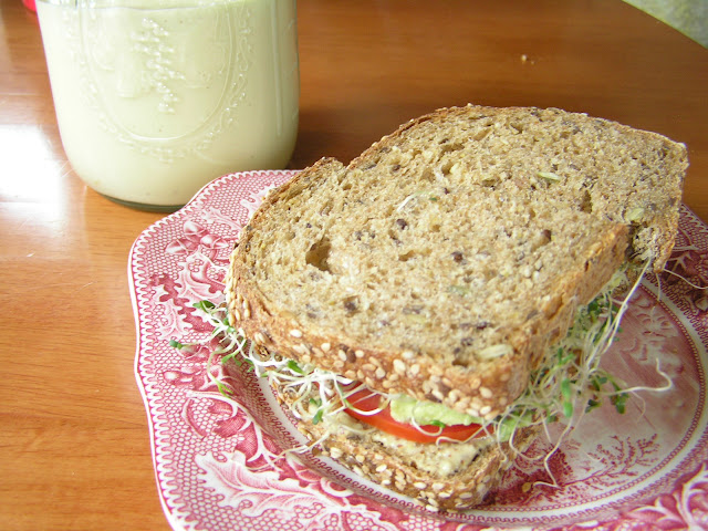 homemade mayo with sandwich