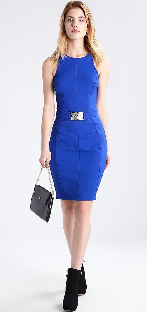 Robe courte fourreau bleu électrique sans manches Versace Jeans