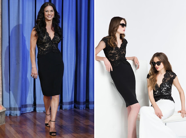 Catherine Zeta-Jones in Reem Acra (Resort 2014 ) - Late Night with Jimmy Fallon