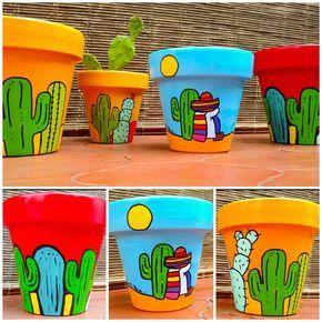 Macetas pintadas - cactus