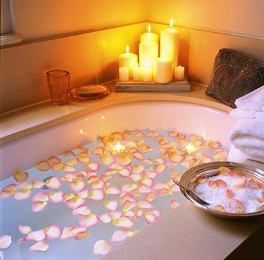 Baño Con Velas | Con Decoro Flores Y Velas En El Bano