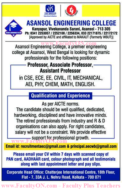 Asansol Engineering College, Asansol Wanted Teaching Faculty