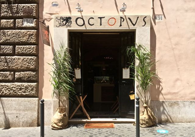 Octopus Eating in Rome's Monti Neighborhood