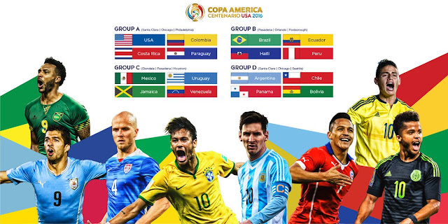 جدول نقل مباريات بطولة كوبا أمريكا - امريكا 2016- بث مباشر - القنوات الناقلة -موعدوتوقيت المباريات