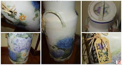 lechera con decoupage y pintada a mano