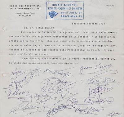 Carta de la Sección de Ajedrez del Hogar Pensionista de Sant Martín a Ángel Ribera en 1983