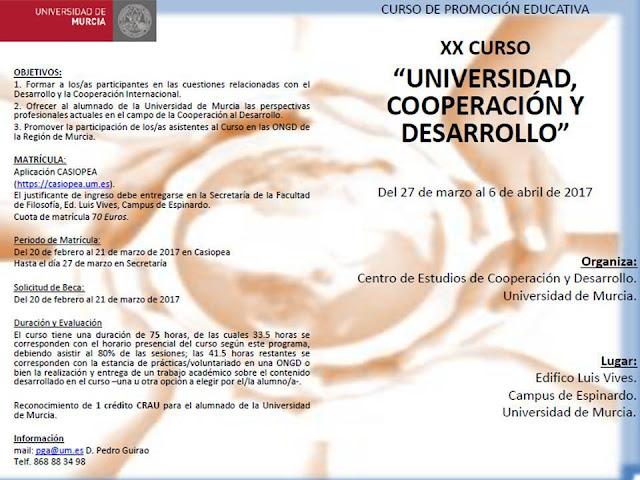 XX Curso Universidad, Cooperación y Desarrollo.