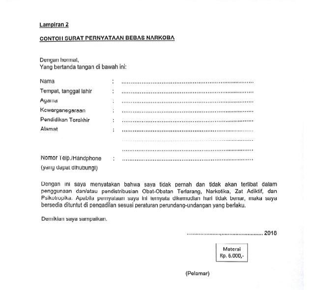Contoh Surat Pernyataan Bebas Narkoba Untuk Daftar Cpns