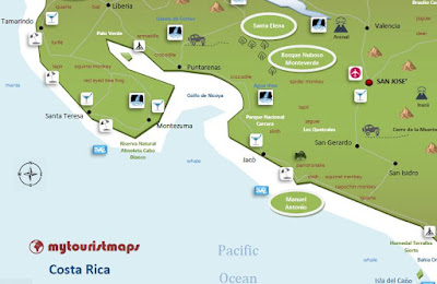 interactive tourist travel map Costa Rica
