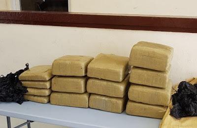 CESFRONT: Decomisan 14 paquetes marihuana hombre dice es oficial Elías Piña