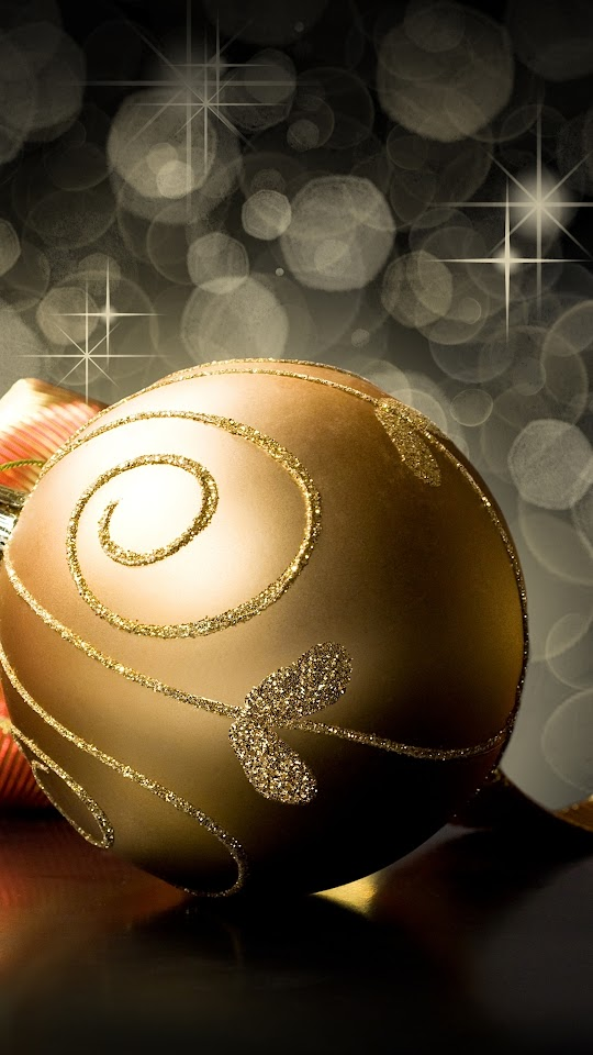 Golden Christmas Ball   Galaxy Note HD Wallpaper