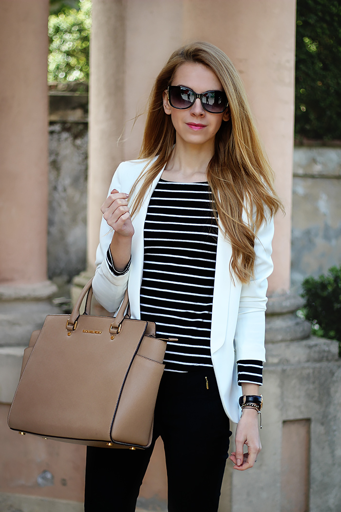 striped top, black and white outfit, Michael Kors Selma bag, spring