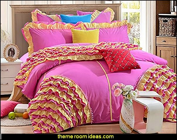 Bedding Set Girls Fairy Bedding Sets Romantic Pink Ruffle Bedding Duvet Cover Set Bright Pink Bedding