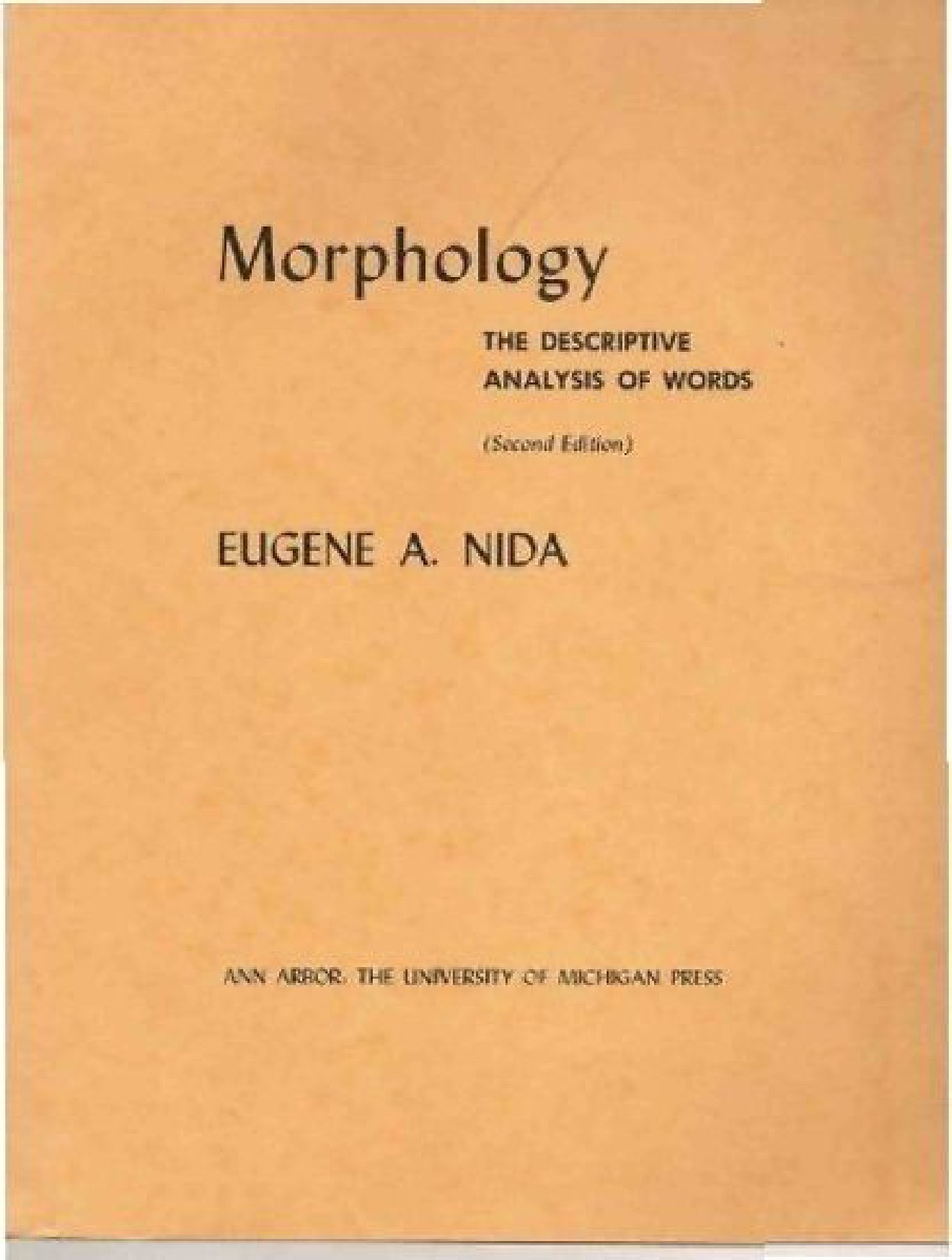 Eugene A. Nida-Morphology:The Descriptive Analysis Of Words-