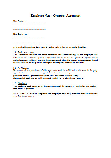 Sample of Non Compete Agreement - Free Word Format - Best Free Templates