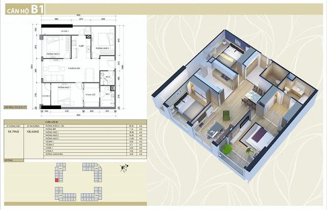 Thiết kế căn hộ B1 chung cư Eco Green City Nguyễn Xiển
