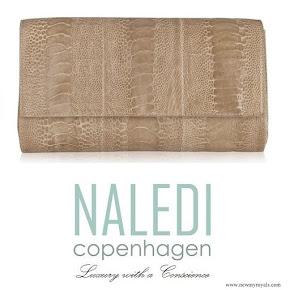 Princess Mary style Naledi Copenhagen Allana Latte Ostrich Clutch