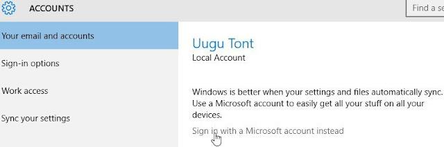 """Windows 10, Paramètres, Comptes. Pour convertir votre compte local en compte Microsoft, cliquez sur """"Connectez-vous avec un compte Microsoft""""."""