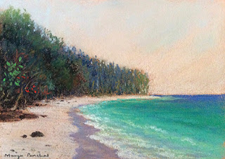 soft pastel painting of a seashore at Bamboo island ( Thailand ) by Manju Panchal