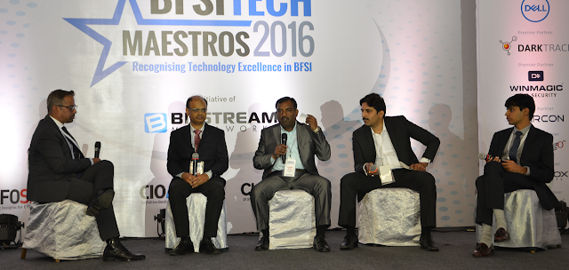 Mr. Trishneet Arora, CEO, TAC Security at the extreme right corner present at the BFSI Tech Maestros Awards & Conclave 2016