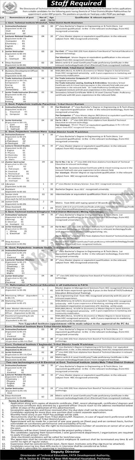 Staff required in FATA Development Authority 2018 (100+ Vacancies)