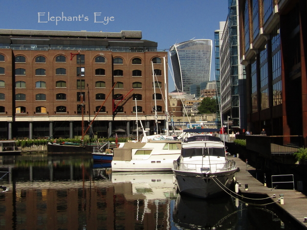 St Katharine Docks with the Walkie Talkie building (and the Sky Garden) in the distance