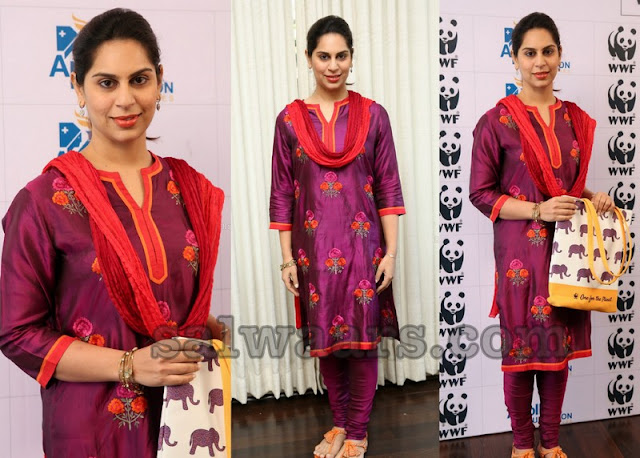Upasana Konidela in Purple Silk Churidar