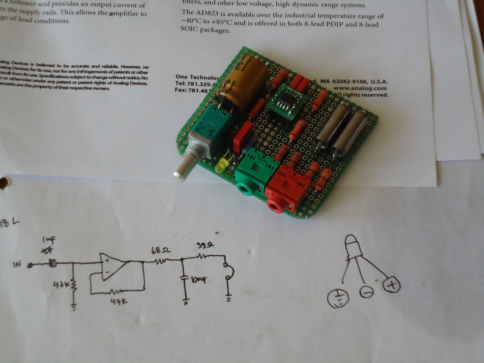 The Orronoco Audio Diy Half Gain Headphone Amplifier Project Operational Schematic Building Concept Op Amp Will Act Just Like A Buffer I Put 47k Resistor Across Output And Inverting Input Without Ground