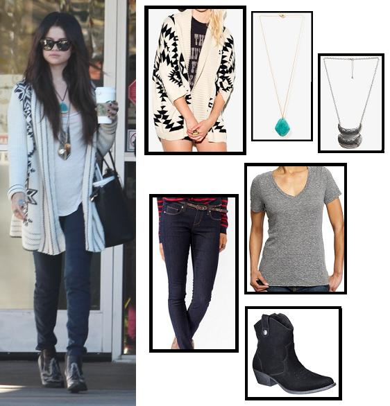boots, celebrity street style, celebrity style, cowboy boots, fashion, forever 21, jeans, necklace, super style steals, sweater, t-shirt, target, old navy, selena gomez, spring breakers, get the look, look for less, budget fashion