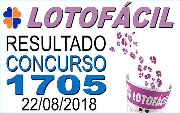 Resultado da Lotofácil concurso 1705 de 22/08/2018 (Imagem: Informe Notícias)