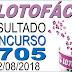 Resultado da Lotofácil concurso 1705 (22/08/2018)