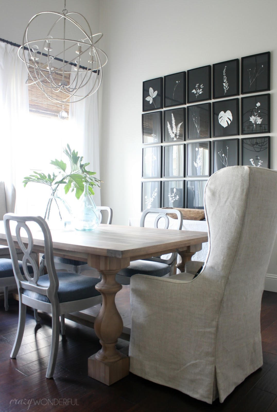 dining room updates + sheets as drapes - crazy wonderful