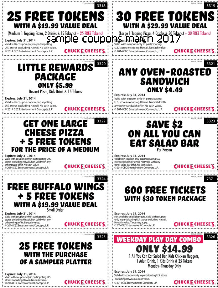 Coupons chuck e cheese july 2018