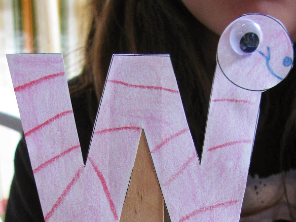 Letter of the Week: W  - with Free Printable Worm Stick Puppet