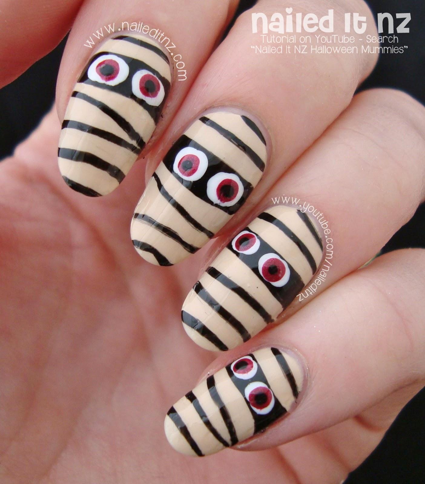 easy mummy nail art tutorial halloween 2014