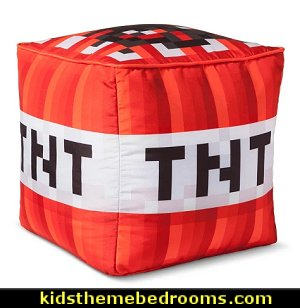 Minecraft® TNT Cube Red Cushion  Minecraft bedroom collection   Gamer bedroom - Video game room decor - gamer bedroom furniture - gamer wall decal stickers - Super Mario Brothers Wall Stickers - gamer bedding - Super Mario Brothers bedding - Pacman decor -  Retro Arcade bedrooms - 80s video gamers - gamer throw pllows - minecraft bedroom ideas - minecraft bedroom decor