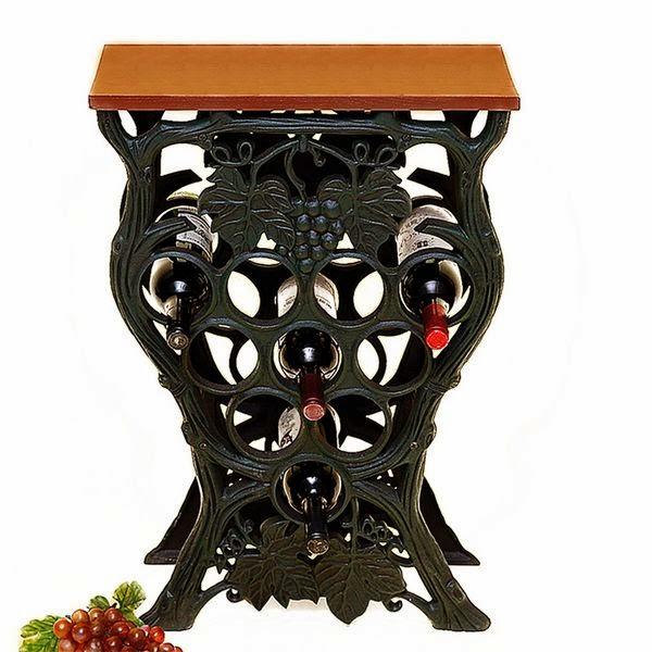 Mesa hierro colado y madera con botellero