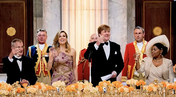 Queen Maxima host a dinner to celebrate King Willem-Alexander's 50th birthday in the Royal Palace Queen Maxima wearing Jan Taminiau gown