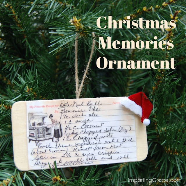 Christmas recipe card ornament