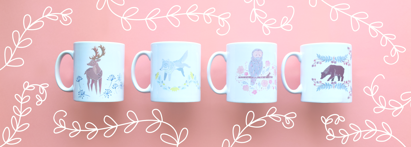 illustrated animal mugs