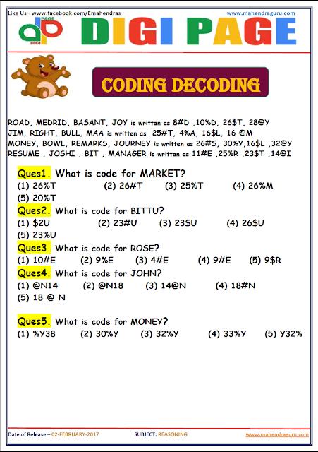 DP | CODING DECODING | 2 - FEB - 17