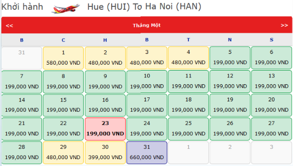 Vé máy bay tết Hà Nội Huế 2018