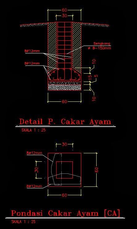 Detail Pondasi Telapak Dwg : detail, pondasi, telapak, Detail, Pondasi, Cakar, Desaign
