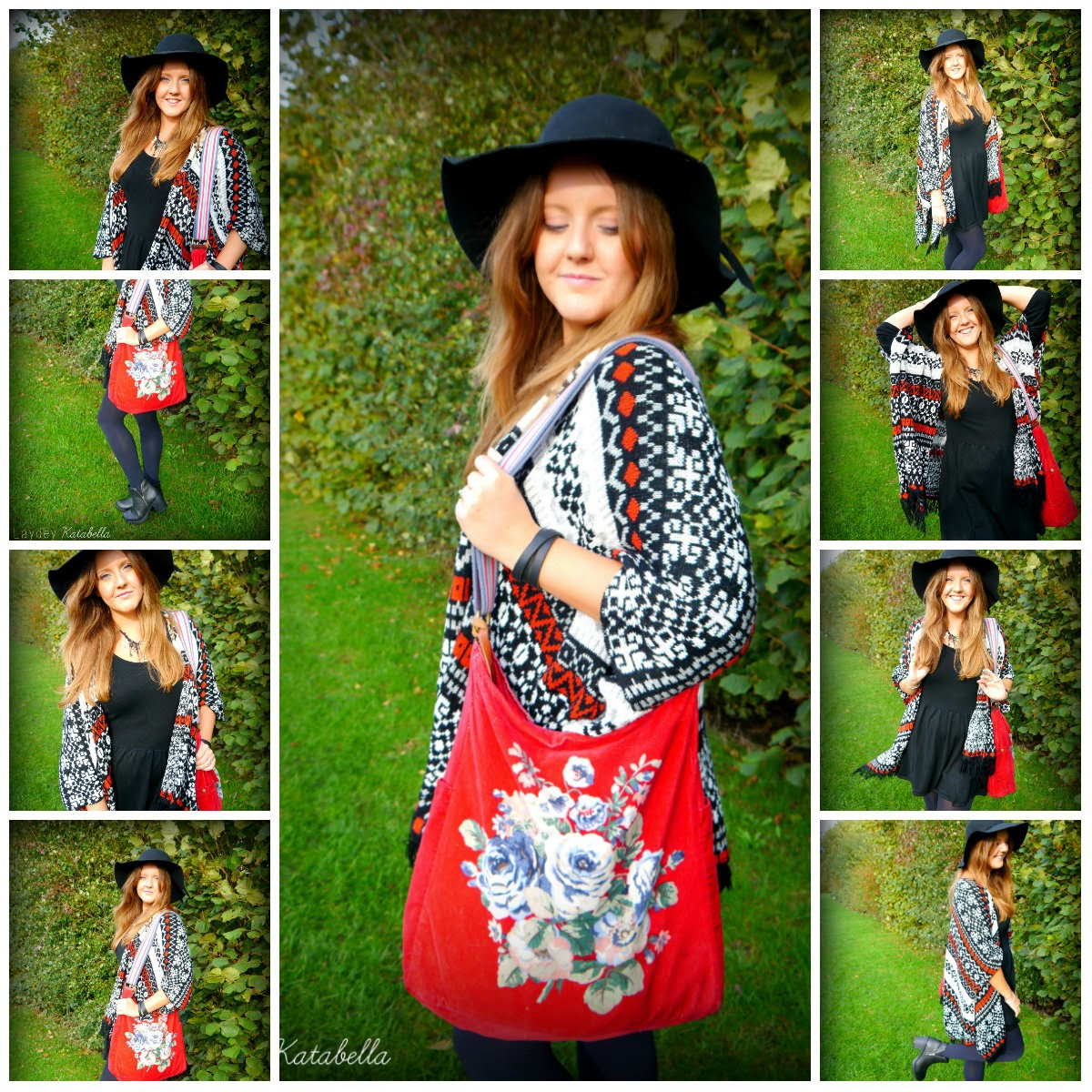 Photo of floppy hat, primark shawl, primark black dress, cath kidston bag, new look boots