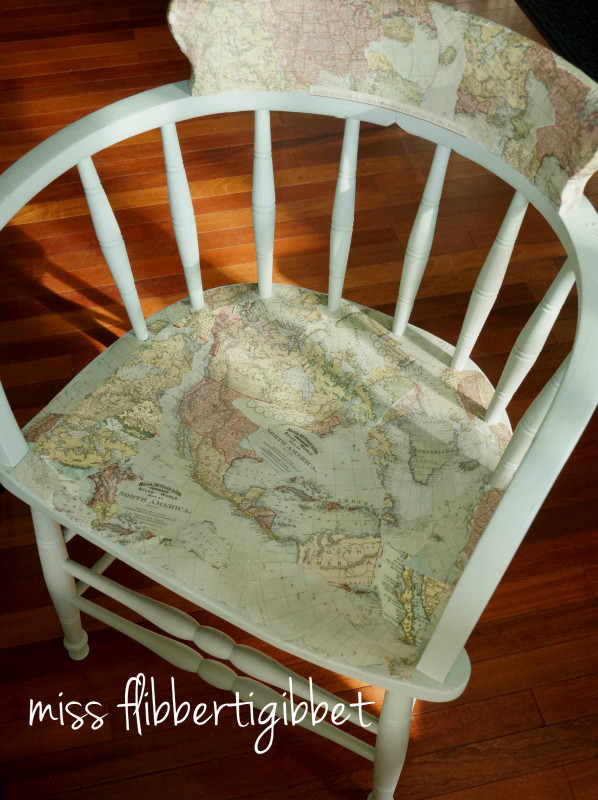 Painted Map Chair from Miss Flibbertigibbet