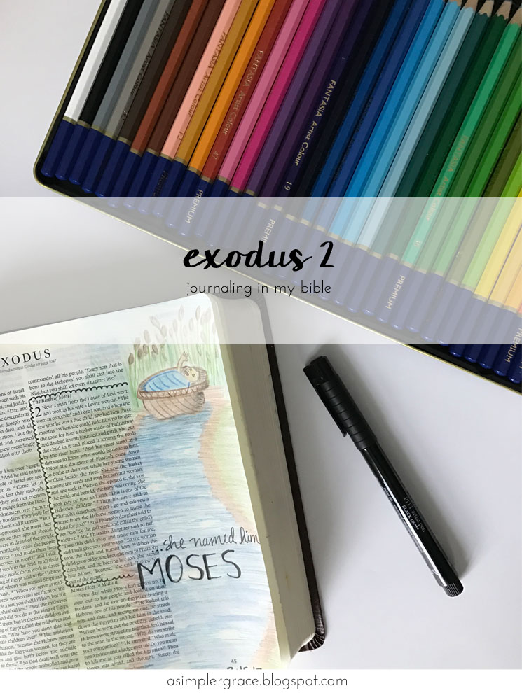 Journaling the story of Moses #biblejournaling #illustratedfaith Exodus 2 | Bible Journaling - A Simpler Grace