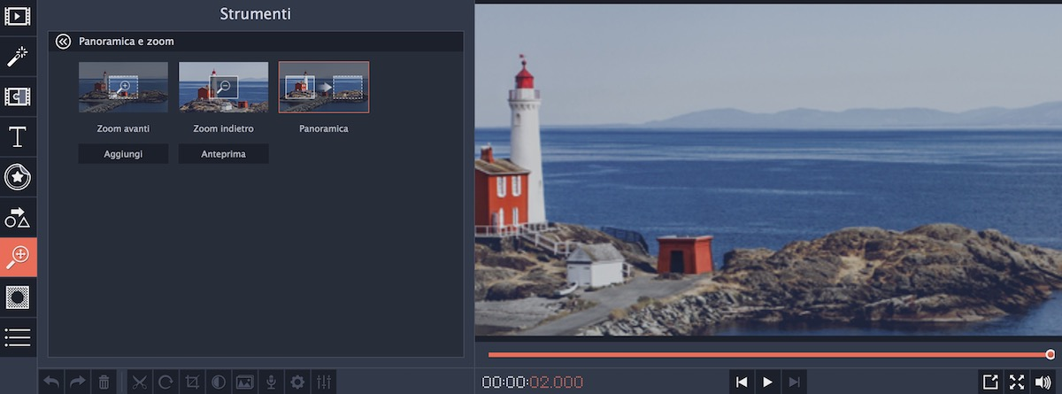 Strumenti: Panoramica e Zoom di Movavi Video Editor