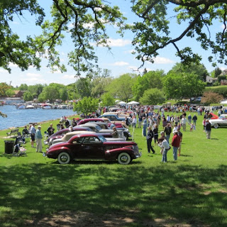 Attendees browse through the classic cars on display at the 10,000 Lakes Concours d'Elegnance